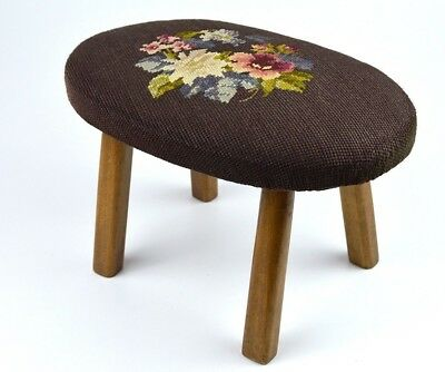 Vintage Oval Footstool with Floral Needlepoint Top