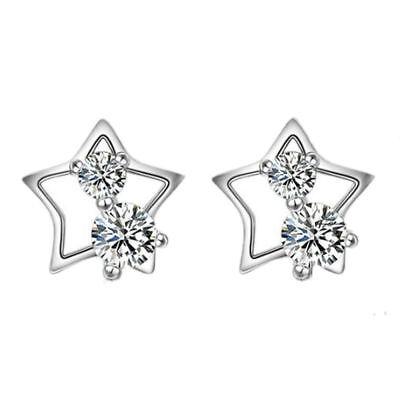Brilliant Star Stud Earrings 925 Sterling Silver Womens Jewellery Valentine Gift