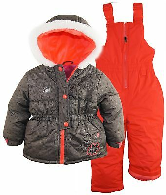 Rugged Bear Little Girls' Two-Piece Snowsuit and Jacket Set with Flower Detail