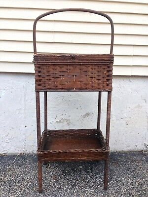 "Antique Heywood Wakefield Rattan Wicker Sewing Stand Table ( 27.25"" Tall )"