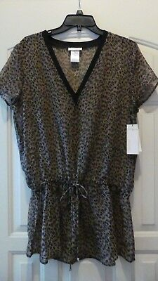 Lot of 10 MICHAEL KORS Khaki Leopard Print Sheer Beach Cover Up Tunic SIZE M