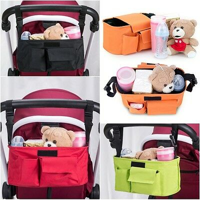 Baby Cart Stroller Organizer Nappy Diaper Bag Pram Buggy Bottle Holder Red Green