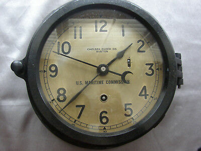 """CHELSEA SHIPS CLOCK - """"U. S. MARITIME COMMISSION"""" on dial - WWII circa 1943"""