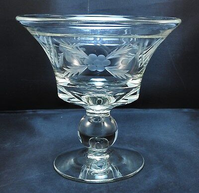 Crystal Glass Stemmed Compote Wheel Cut Design