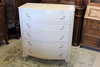 Beautiful English Queen Ann Painted Antique White Chest Of Drawers