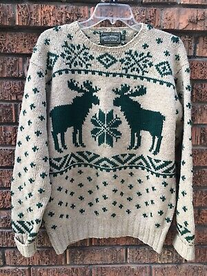 vtg 90s Ralph Lauren POLO COUNTRY 100% wool ugly MOOSE SWEATER Christmas MENS M
