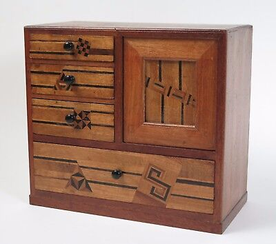 Small Japanese Meiji period 'apprentice piece' chest of drawers c1900.
