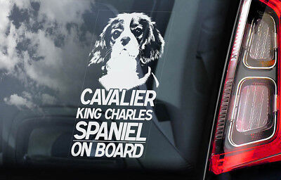 Cavalier King Charles Spaniel - Car Window Sticker - Dog on Board Sign Decal V01