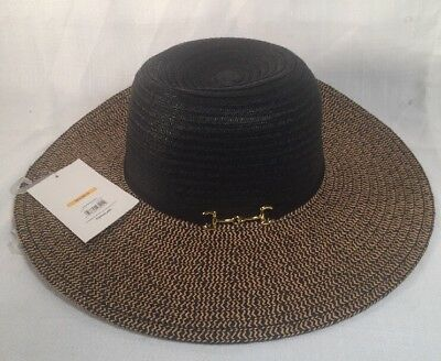 62caab6f Faded Glory Black Natural Mixed Brim Floppy Hat Gucci Horse Bit Style Sz  M-L/M-G