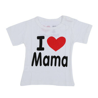 5X(Baby clothing cotton I love mama letters short-sleeved t-shirt white I L C6L7