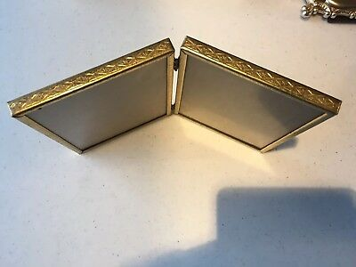Vintage Pair of Brass Gold Tone Ornate Metal Picture Photo Frames Bifold 5x7