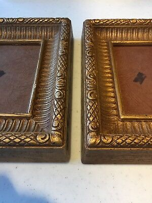 """Vintage Antique Pair of Brass Gold Picture Photo Frames 6.5""""x8"""" Holds 4""""x5"""""""