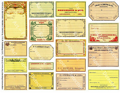 Apothecary Labels, 2 Sticker Sheets, Antique Pharmacy, Blank Druggist Label Set