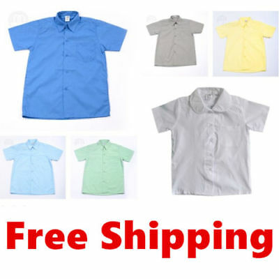 Boys Kids Girls Short Sleeve Formal Casual School Uniform Wedding Shirts Wear Sz