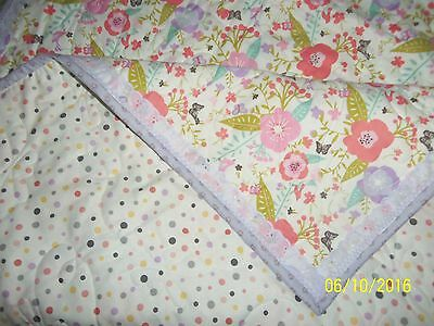 home/hand made baby quilt blanket- BUTTERFLIES FLOWERS   personalized gift