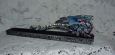 "Blue Dragon Resin Incense Burner Ash Catcher 10.5"" Long 71457 New"
