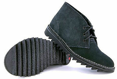 4046 Rossi Boots Ripple Sole Desert Boot Black Suede