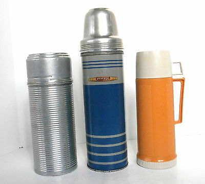 3 Vintage Thermos Bottles; 1 Universal & 2 Thermos Brand Bottles, Stoppers & Cup