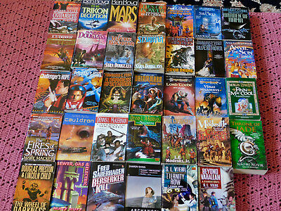 Sci -Fi - Fantasy Lot 34 Paperback Books Fiction - Very Good + Condition