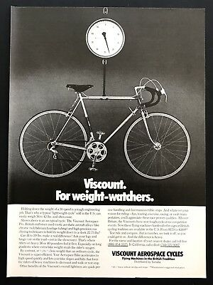 1975 Vintage Print Ad VISCOUNT AEROSPACE CYCLES Bike Weigh Scale Light 10 Speed