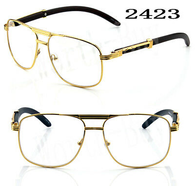 New Fashion Mens Womens Clear Lens Glasses Vintage Wood Frame Gold Pilot Aviator