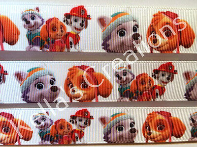 """Paw Patrol character ribbon 1"""" sold by 2 M - Craft - Cakes - Dummy clips-"""