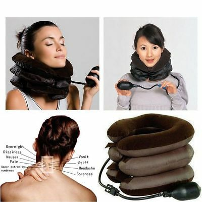 Air Inflatable Pillow Cervical Neck Head Pain Traction Support Brace Device Soft