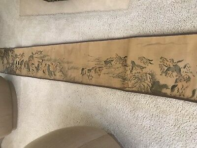 A Thousand Horses Ancient Asian Scroll