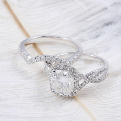 Certified 3.4CT Cushion Cut Diamond Engagement Wedding Ring Solid 14K White Gold
