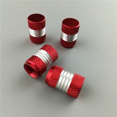 Red Anodized Round Aluminum Tire Valve Stem Caps 4PCS For Car Bike