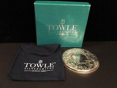 """Towle """"Old Master"""" Sterling Silver Ladies Compact Mirror in Box -""""A"""" Monogrammed"""