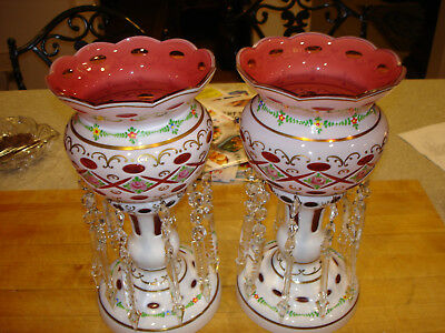 "Old Vintage Bohemian Czech Republic 12"" Pair Of Cranberry Lusters Never Used A1"