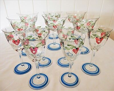 "ORREFORS ""Maja"" set of 12 Glasses, all signed by Eva Englund"