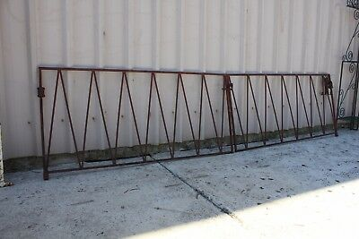 Pair Of Vintage Retro Wrought Iron Driveway Gates With Original Hinges
