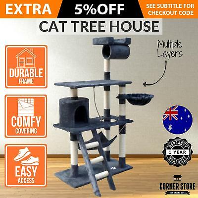 Large Cat Kitten Grooming Scratching Tree Post Gym Furniture Tower Ladder Pouch
