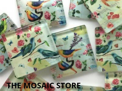 Bird Patterned Handmade Glass Tiles 2.5cm - Mosaic Tiles Supplies Craft Art