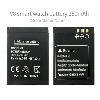 V8 battery smart watch phone 280mAh V8 smart watch battery for V8 smart watch