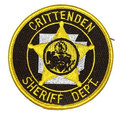 CRITTENDEN ARKANSAS AR Police Sheriff Patch STATE SHAPE OUTLINE SEAL ANGEL 3.5""