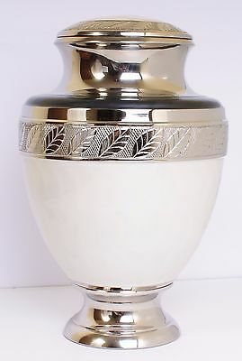 Large Cremation Ashes Urn, Adult Funeral urn, pearl white, STOCK CLEARANCE SALE