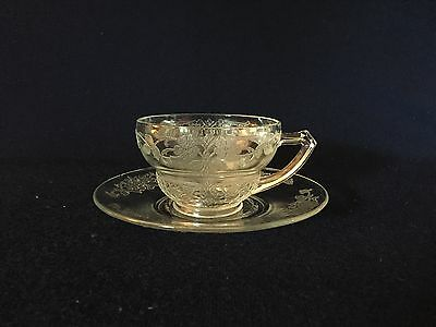 CRYSTAL VERNON # 616 Indiana Depression Glass Cup & Saucer Free U.S. Shipping