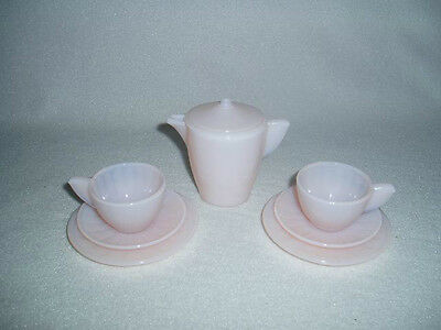 Akro Agate Children's Tea Set Small Interior Panel Pink Luster 8 Piece Lot
