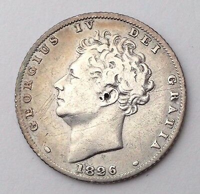Dated : 1826 - Silver Coin - Sixpence / 6d - King George IV - Great Britain