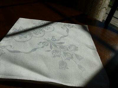 Gorgeous Antique Irish Linen Damask Napkins Tulips