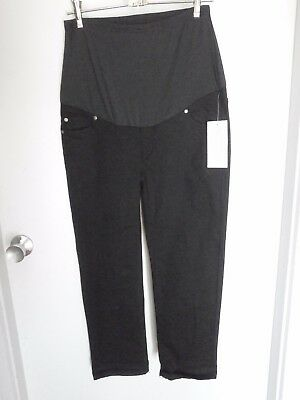 OH! MAMMA  BNWT  Black Maternity Pants Embroidered Pockets Size M
