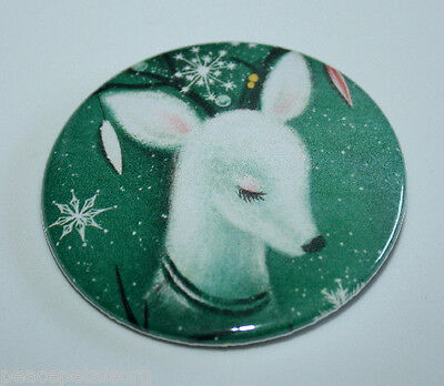 CHRISTMAS DEER MAGNET White Vintage Retro Holiday Art Kitchen Party Gift