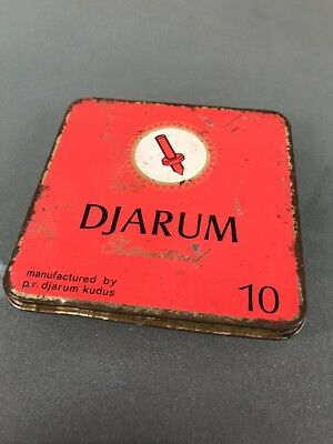 Metal DJARUM INTERNATIONAL Vintage red TIN Metal CIGARETTE CASE Tobacciana
