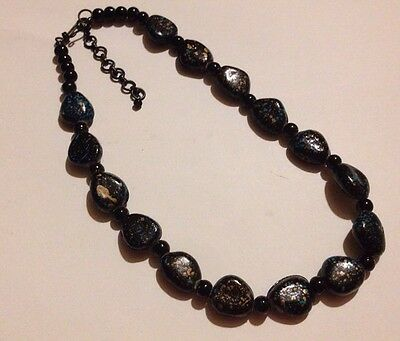 Unusual/Vintage/Statement/Black Splatter/Beads/Necklace/1960s/70s/Chunky
