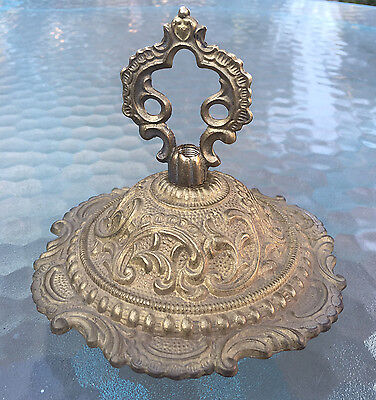 "New 5-1/2"" Solid Unf Cast Brass Fancy Ornate  Canopy & Loop For Chandelier"