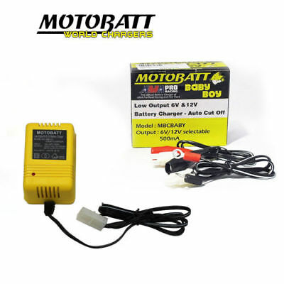Motobatt 6V & 12V AUTO CUT OFF Motorcycle Battery Trickle Baby Boy Charger