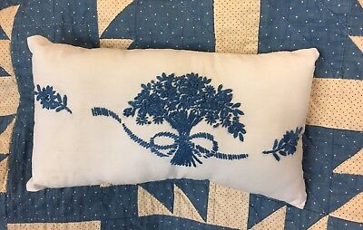 Antique Hand Embroidered Small Pillow Blue Floral